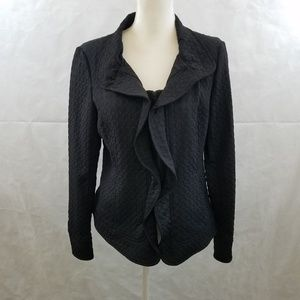 Lafayette 148 Black Quilted Jacket withRuffle Sz 8